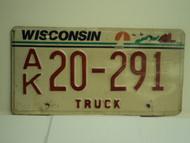 WISCONSIN Truck License Plate AK 20 291