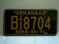 1971 ARKANSAS NOS Truck License Plate B 8704