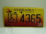 NEBRASKA Handicapped License Plate 4365