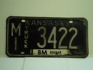 1969 KANSAS Truck 8M regular License Plate MI 3422