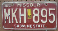 1983 Jul Missouri MKH-895 License Plate DMV Clear YOM