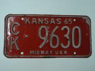 1965 KANSAS Midway USA License Plate CK 9630