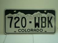 COLORADO License Plate 720 WBK