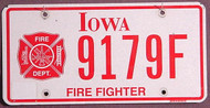 Iowa Firefighter Flat License Plate