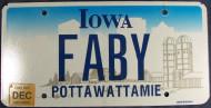 2007 Dec Iowa Vanity License Plate FABY