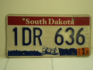 2003 SOUTH DAKOTA Mount Rushmore License Plate 1DR 636