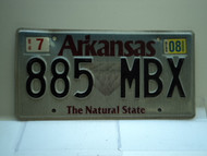 2008 ARKANSAS Natural State License Plate 885 MBX