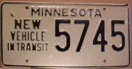 1980's Minnesota New Vehicle In Transit License Plate 5745