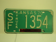 1970 KANSAS 8M Truck License Plate SF 1354