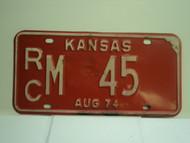 1974 KANSAS License Plate RC M 45