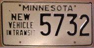 1980's Minnesota New Vehicle In Transit License Plate 5732