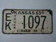 1963 KANSAS 8M Truck License Plate EK 1097