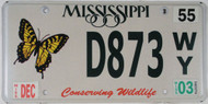 2003 Dec Mississippi Butterfly License Plate D873