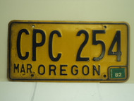 1982 OREGON License Plate CPC 254