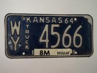 1964 KANSAS 8M Truck License Plate WY 4566