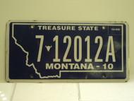 2010 MONTANA Treasure State License Plate 7 12012A