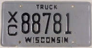 Wisconsin XC 88781 License Plate Truck