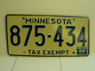 1988 MINNESOTA Tax Exempt License Plate 875 434