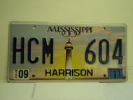 2011 MISSISSIPPI Lighthouse License Plate HCM 604