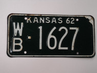 1962 KANSAS License Plate WB 1627