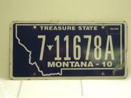 2010 MONTANA Treasure State License Plate 7 11678A