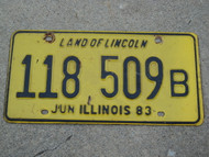 1983 ILLINOIS Land Of Lincoln License Plate 118 509B