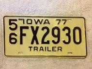 1977 Lee Co Iowa 56 FX2930 Trailer License Plate