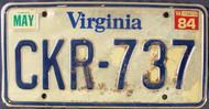 1984 May Virginia CKR-737 License Plate