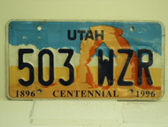 UTAH Centennial 1896 License Plate 503 WZR