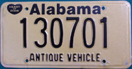 Alabama Antique Vehicle License Plate  130701 HOD