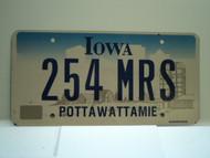 IOWA License Plate 254 MRS