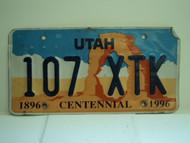 UTAH Centennial 1896 1996 License Plate 107 XTK