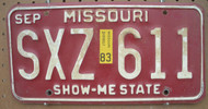 1983 Sep Missouri SXZ-611 License Plate DMV Clear YOM