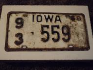 1058 IOWA License Plate 93 559