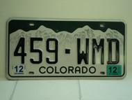 2012 COLORADO License Plate 459 WMD