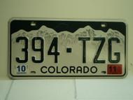 2011 COLORADO License Plate 394 TZG