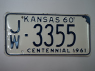 1960 KANSAS 1961 Centennial License Plate JW 3355