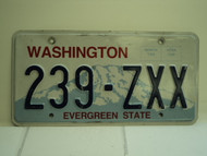 WASHINGTON Evergreen State License Plate 239 ZXX