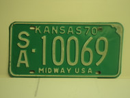 1970 KANSAS Midway USA License Plate SA 10069