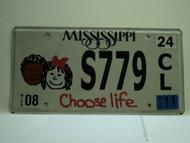 2011 MISSISSIPPI Choose Life License Plate S779 CL