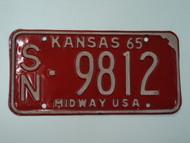 1965 KANSAS Midway USA License Plate SN 9812