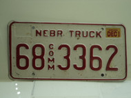 2002 NEBRASKA Commercial Truck License Plate 68 3362
