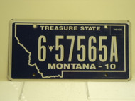 2010 MONTANA Treasure State License Plate 6 57565A