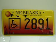 NEBRASKA Handicapped License Plate 2891