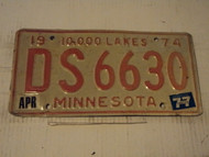 1974 1977 MINNESOTA 10,000 Lakes License Plate DS 6630