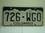 COLORADO License Plate 726 WGO