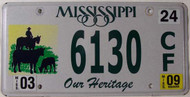 2009 Mar Mississippi Our Heritage License Plate