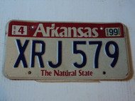 1999 ARKANSAS The Natural State License plate XRJ 579
