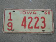 1968 IOWA License Plate 19 4223