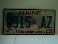 1994 MAINE Lobster Vacationland License Plate 9915 AZ